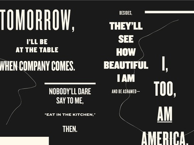 I, Too (Part 2) knockout black and white poster design poster poetry poem langston hughes exquisite corpse black history month america