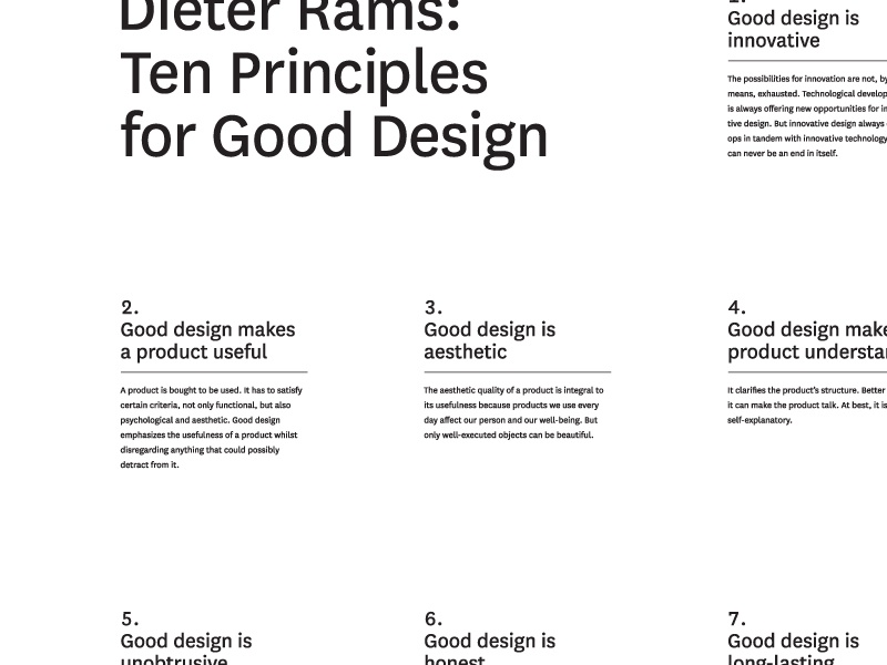 Ten Principles layout black and white good design ten principles dieter rams poster typography