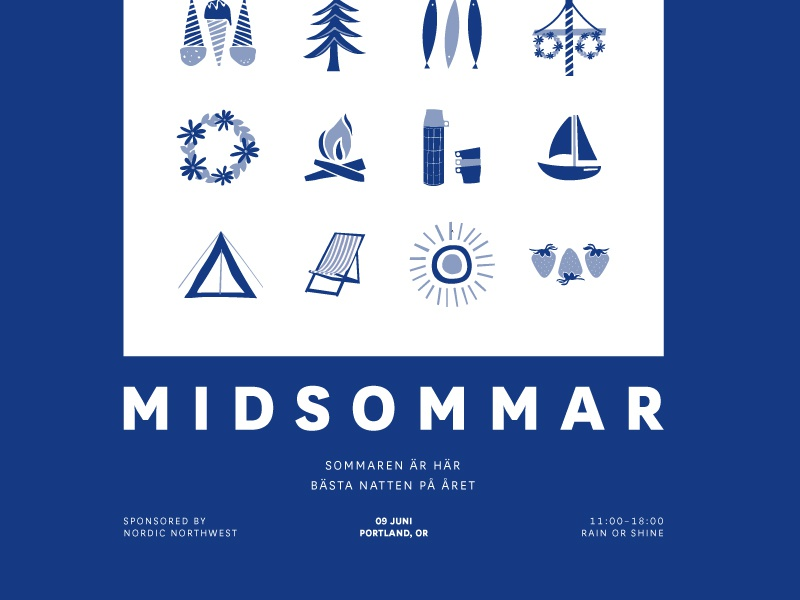 Midsommar 2018 portland illustration typography type swedish sverige summer solstice midsummer midsommar layout