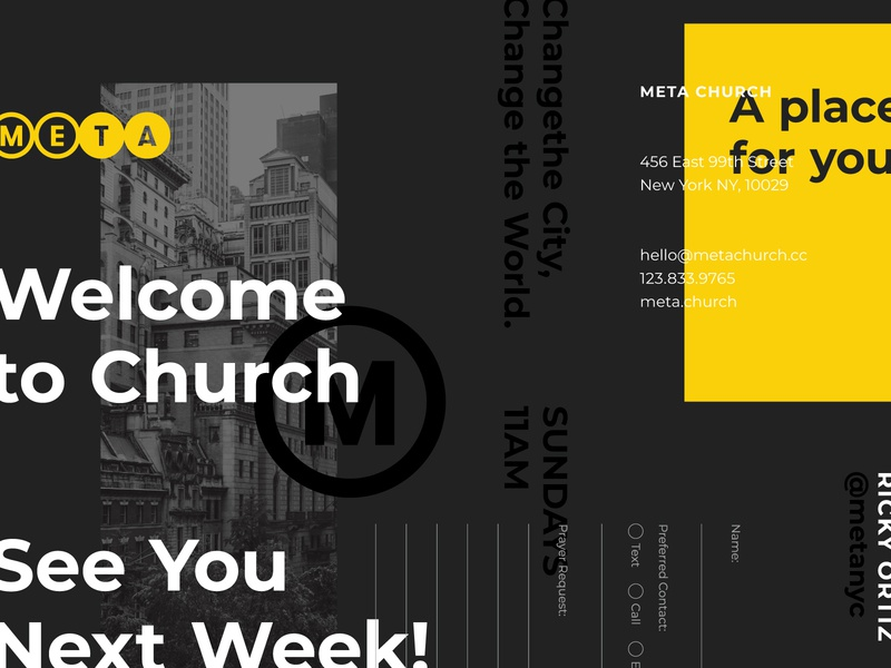 Meta is Coming II meta new york layout design typography church branding