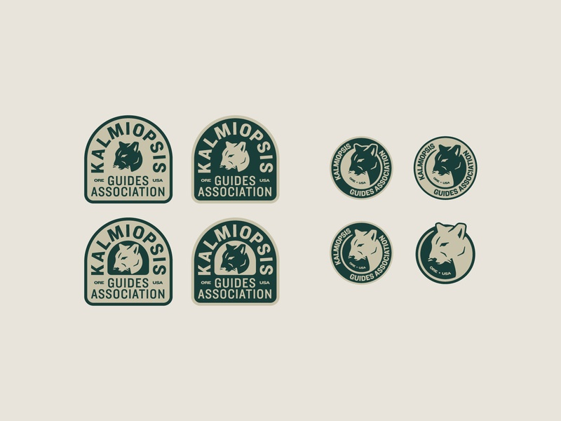 Kalmiopsis III lockup oregon outdoors kalmiopsis mountain lion patch badge typography logo branding