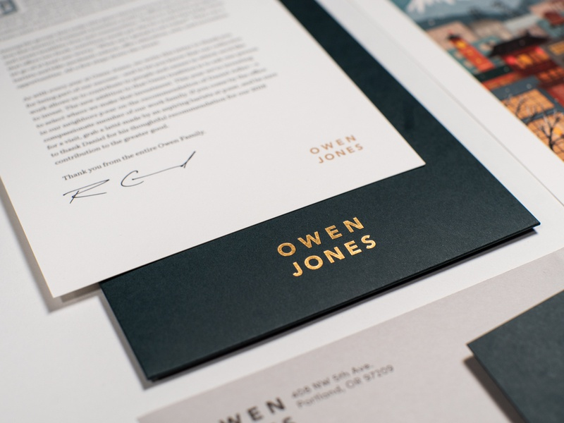 Owen 2018 Holiday Card card graphic design layout typography branding gold foil christmas agency owen jones oregon portland