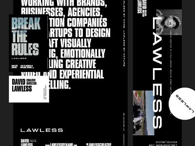 Lawless identity portland layout logo black and white typography branding