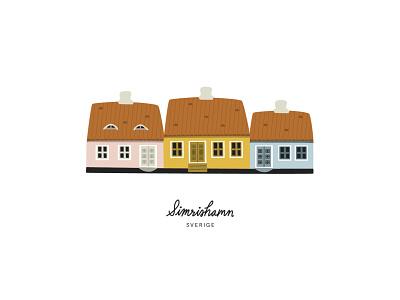 Simrishamn houses scandinavian illustration swedish sweden