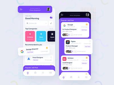 Job Finder Application interaction mobile app design mobile app webdesign figmadesign sketch ui typography job finder app job finder job application mockup creative app design app 2020