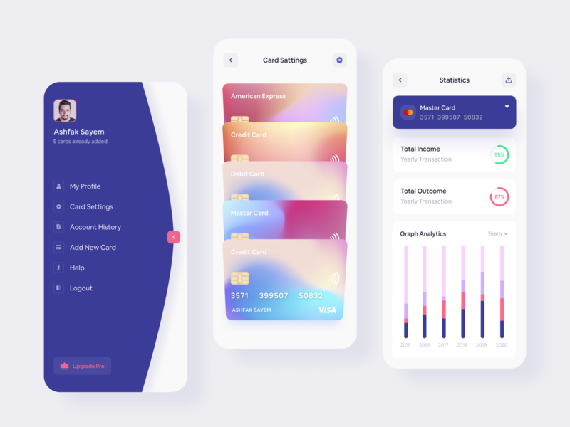 Banking App card menu design 2020 trend dribbble best shot interaction webdesign creative mockup wallet mobile design uidesign landing page finance app finance statistics banking walletapp banking app app design app