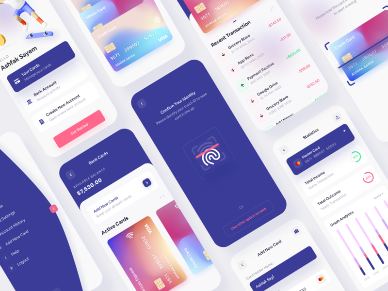 Banking App menubar 2020 trends mobile app design figma design figma statistics banking dashboard illustration branding interaction mockup ux webdesign app trendy design creative design finance app walletapp wallet banking app