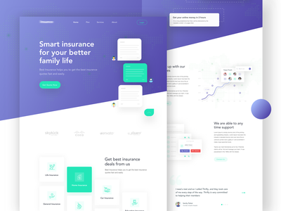 Insurance Landing Page team icon gradient out of the box 2019 minimal website agency prelook insurance landing page insurance webdesign typography design landing page cool design creative ux mockup ui