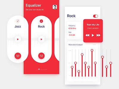 Equalizer App Interface Concept 2019 best shot 2018 best shot best app color red rock music equaliser equalizer iphone x design creative user experience ios interaction app cool design ux mockup ui