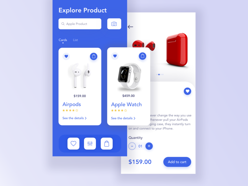 E-commerce App Exploration animation typography daily ui daily art app prelook studio prelook concept 2019 trend ios airpords card product ecommerce e-commerce app interaction ux creative mockup ui