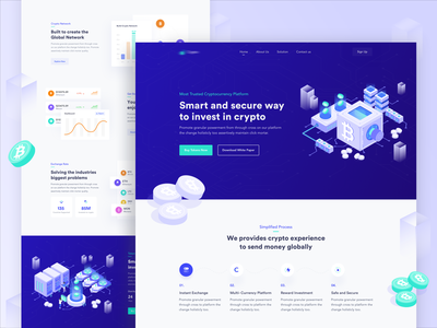 Cryptocurrency Landing Page bitcoin exchange currency bitcoins landing page vector design illustration design currency design web token webdesign ico bitcoin services bitcoin illustration crypto exchange cryptocoin crypto wallet cryptocurrency crypto