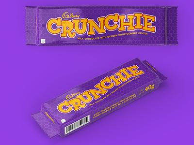 Cadbury Crunchie dribbbleweeklywarmup wrapper packaging candy branding procreate design