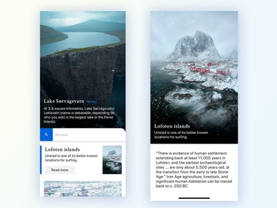Norway typography design travel mobile uiux foto interface ux design uidesign title search concept landscape clean norway app