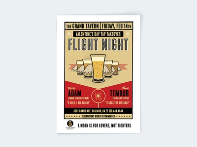 Flight Night event flyer illustration poster oakland beer takeover tap night flight