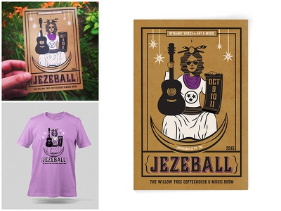 Jezeball tarot illustation layout postcard tshirt poster identity jezeball tennessee festival music