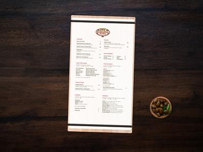 Menu food print menu