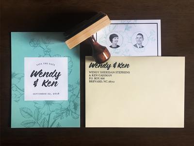 Wendy & Ken stamp savethedate design love card invitation wedding