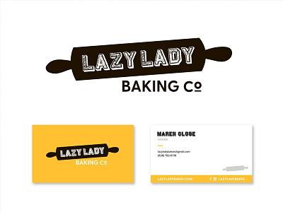 Lazy Lady Baking Co. pin rolling card business logo branding company backing lady lazy