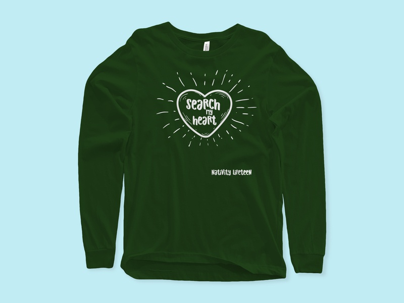 Search my heart retreat lifeteen shirt design illustration