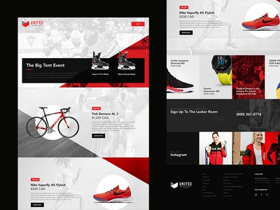 United Sport & Cycle design landing page visual design web