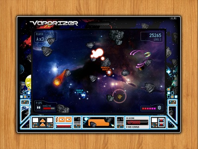 Vaporizer interface arcade asteroid video game visual design