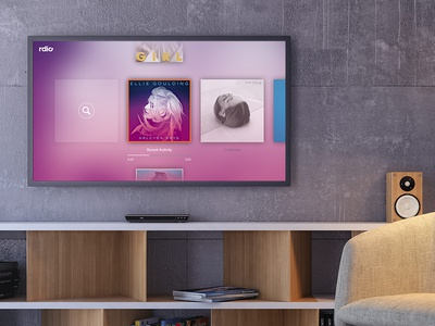 Rdio Connected TV App living room smart tv music interface app tv rdio visual design