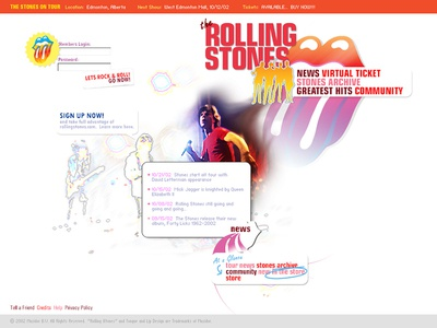 The Rolling Stones band entertainment redesign web rolling stones music