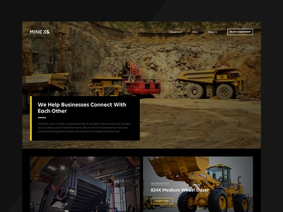 MineXS minexs heavy equipment web mining homepage visual design