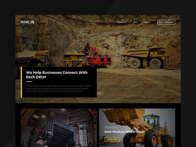 MineXS minexs heavy equipment web mining homepage visual design