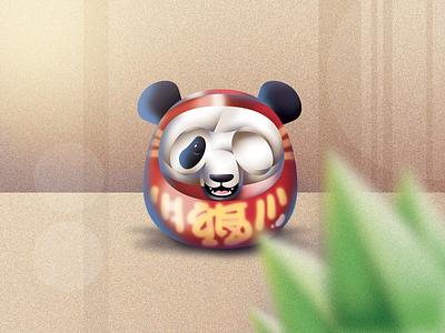 Pandaruma animal doll japan daruma illustrator character vector illustration photoshop