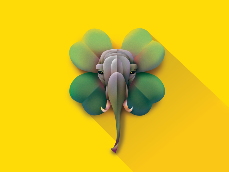 🐘 + 🍀 abstract animal illustrator vector illustration geometric elephant luck lucky clover four leaf clover