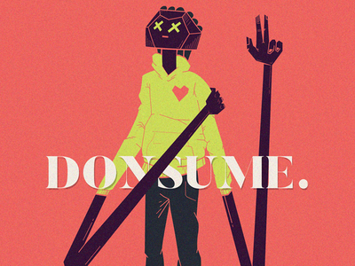 Donsume. illustration donsume experiment poster character