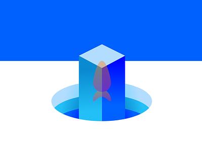 Ice Fish geometric vector minimalism logo gradient simple