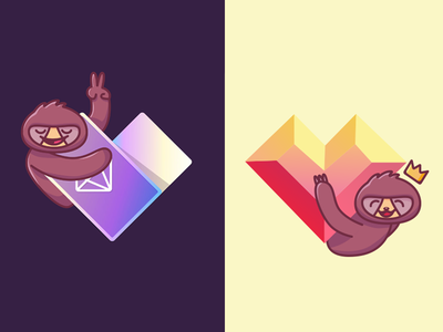 Sloths & Hearts cartoon animal character neonmob illustration vector geometric heart sloths