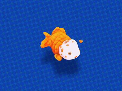 Oranda Goldfish character simple vector animals texture illustration goldfish