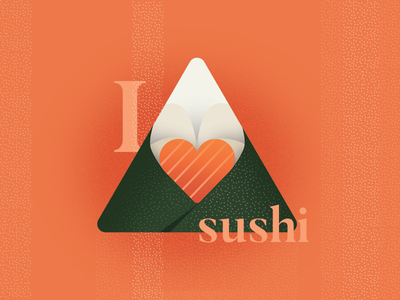 I 🧡 🍙 simple food illustration logo vector hand roll sushi