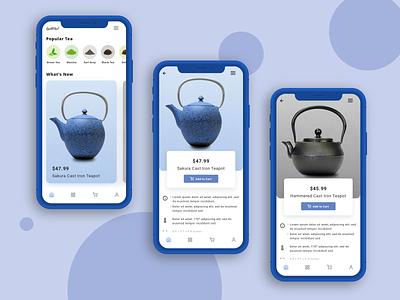 Mobile App - Tea Concept ui phone template visual design ui design product design teapot tea design sketch mobile design mobile app