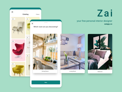 Free, Personal Interior Designer (App) interior designer ui design ux design artificial intelligence ai shopping mobile app furniture interior design zai