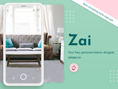 Zai: New AR Interior Design App principal prototype sketch app design app artificial intelligence ai augmentedreality ar interiordesigning interiordesign interior designs interior design ideas interior decor interior interior design