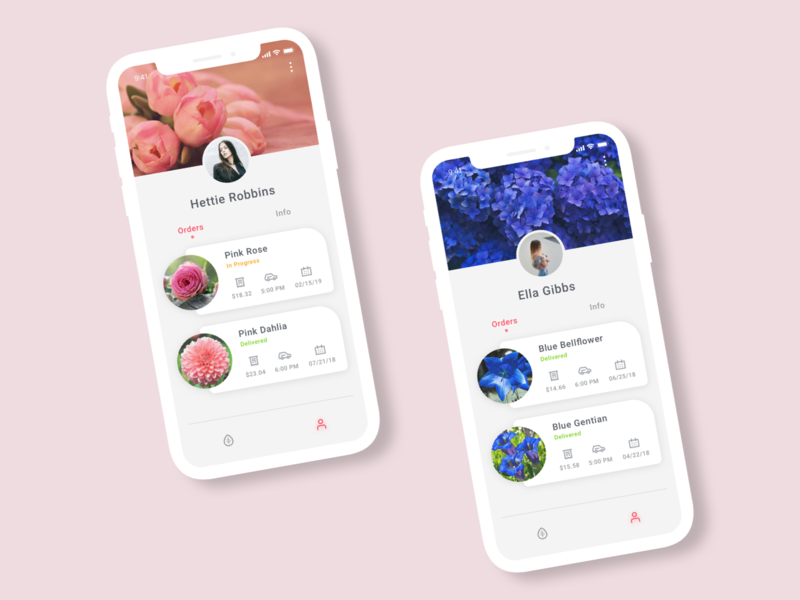 Daily UI #006: User Profile app concept ui  ux design users profile flower delivery flowers design mobile user profile daily ui challenge ui design mobile app blue pink 100-day-ui-challenge app ui