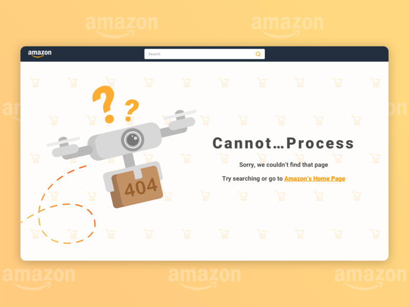Daily UI #008: 404 Page package drones drone e-commerce design e-commerce shopping daily ui 008 dailyui 404 page daily ui 8 404 illustration design ui design daily ui challenge amazon orange 100-day-ui-challenge ui