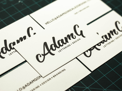 Adam G Business Cards lettering letterpress letterpressed design logo branding business cards