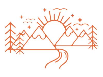 Wilderness scenery camping wilderness illustration monoline