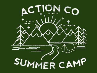 Action Co Summer Camp monoline outside fun summer camp camping t shirt design illustration