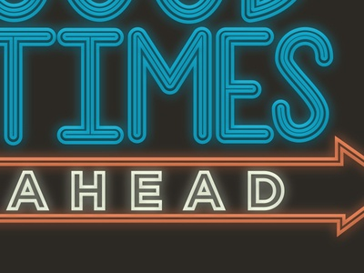 Neon Times times lettering typography type sign arrow neon sign