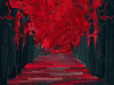 Japanese Forest Path painting illustration artwork ipad pro digital painting landscape forest japanese japan