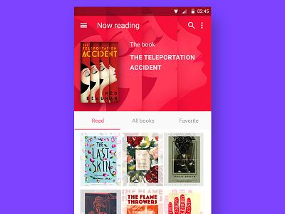 book app app ui flat android lollipop google material design clean mobile