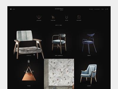 Asthetique atelier catalog page home catalog furniture parralax ui web creative website russia design