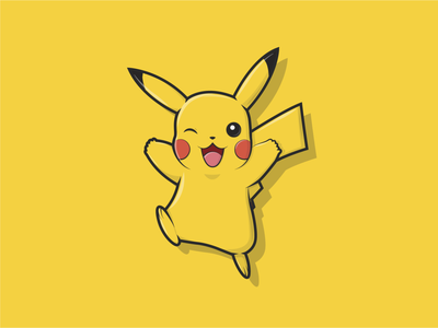 Pikachu yellow adorable lovely pokemon pikachu sticker design illustrative friendly happy cartoon character bold outline illustrator minimal flat ux ui vector design illustration