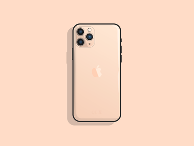 iPhone 11 Pro rose gold ux sticker digital design art designer camera minimal illustrative apple phone iphone flat vector ui illustrator illustration design bold outline